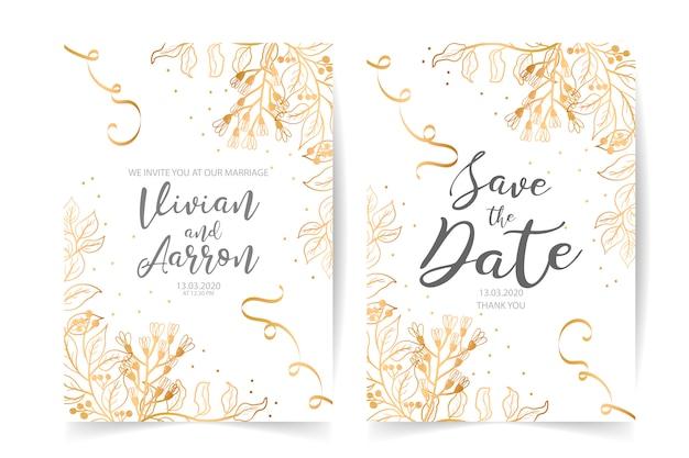 Современное свадебное приглашение с акварельными цветочными элементами