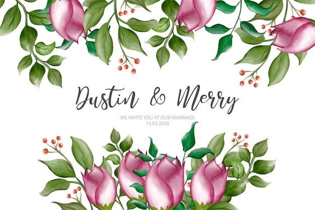 水彩花の要素とモダンな結婚式の招待状。あなたの設計のため。