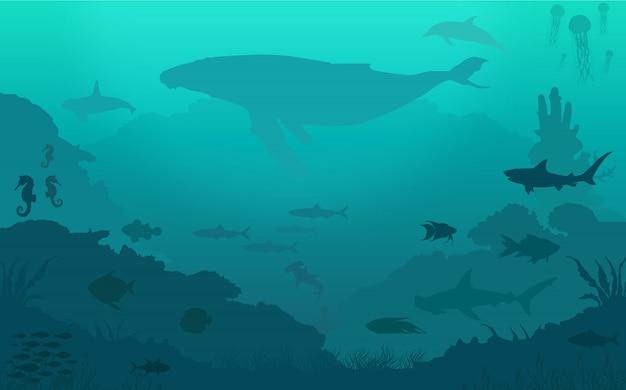 海の魚の背景