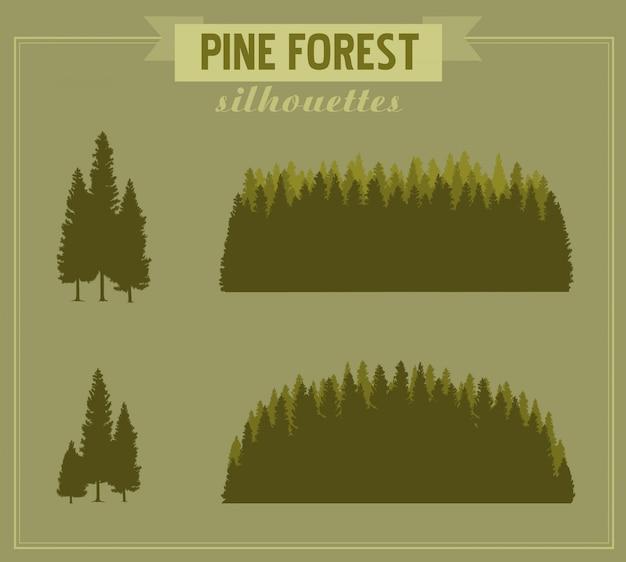森のシルエット。松林の詳細なシルエットと松の木の束。様々な形の木のシルエット