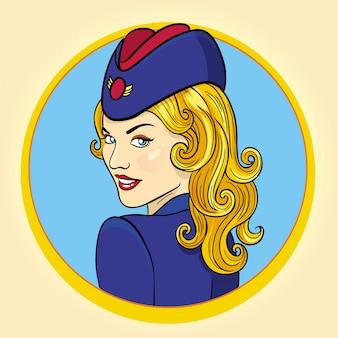 エアホステスレトロなスタイルのイラスト。飛行士の女性。