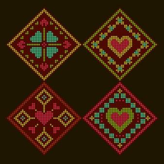 エスニック風のロマンチックなカラフルな刺繍の背景。菱形クロスステッチパターン。