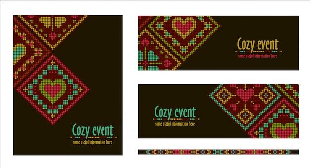バナー、カード、エスニック風のチラシテンプレート。クロスステッチ刺繍デザイン。ひし形の飾り。