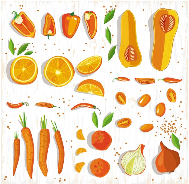 健康食品のコンセプトです。木材の背景、上面に果物と野菜のパターン。