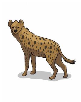 Африканская саванна стоя гиена, изолированных в мультяшном стиле. образовательная иллюстрация зоологии, изображение книжка-раскраски.