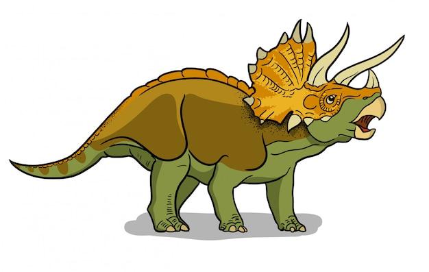 Иллюстрация динозавра трицератопс в мультяшном стиле.
