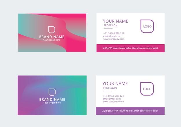 Современный шаблон визитной карточки красочный зеленый градиент набор
