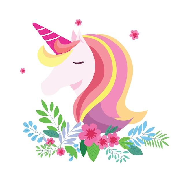 花と素敵なカラフルな髪のユニコーン