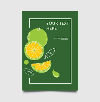 レストランメニュー緑色の柑橘類のパンフレット、フライヤーデザインのテンプレート