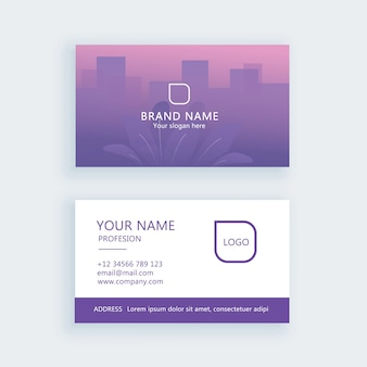 Визитная карточка градиентный лист фиолетовый минимальный логотип корпоративный