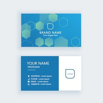 Современный шаблон визитной карточки синий науки