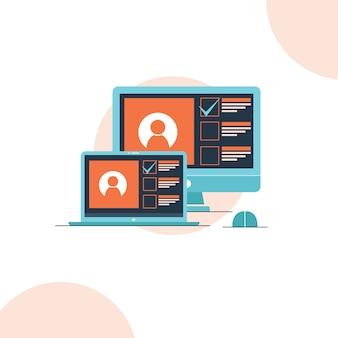 Ноутбук и компьютер на столе приложение на экране плоский дизайн стиль иллюстрации