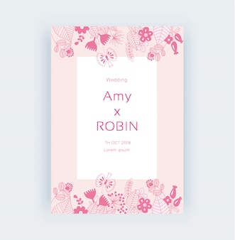 ピンクの花のフレームの結婚式招待状の準備ができているプリントラインのベクトル図