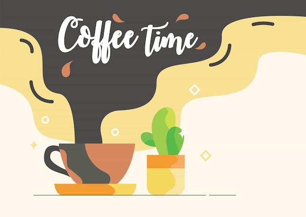 カフェのテーマのためのサボテンの多量の花とポスターコーヒータイムカップ