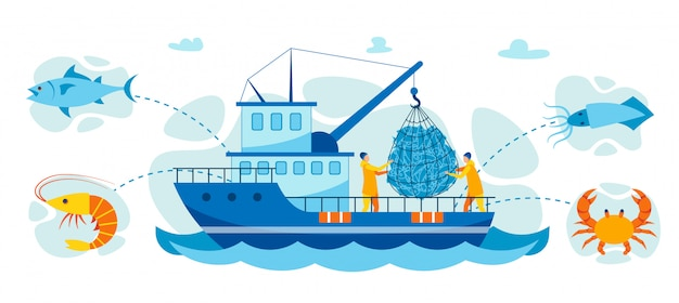 Векторные иллюстрации ловля крабов и морепродуктов.