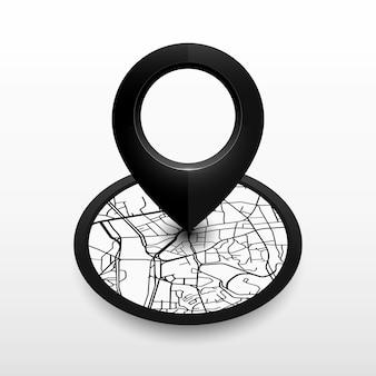 市内地図と等尺性の場所ピン。アイコンデザインブラックカラー