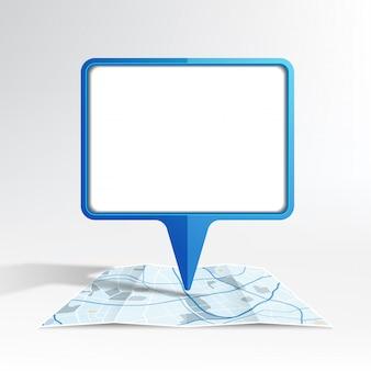 Рекламный щит макет на карте синего цвета