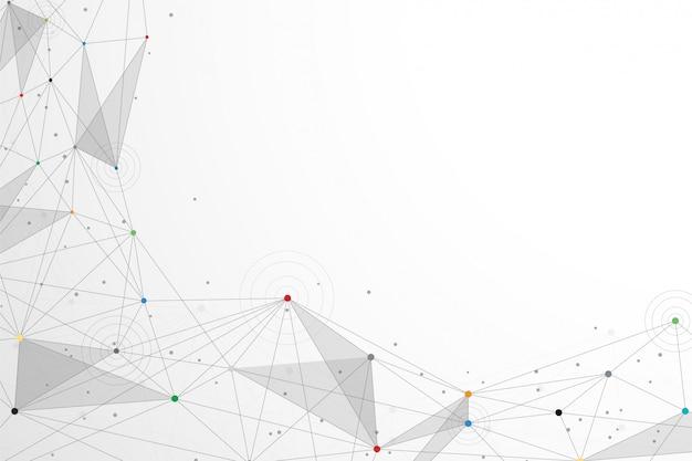 抽象的な技術は白いトーンでドットの背景を接続します