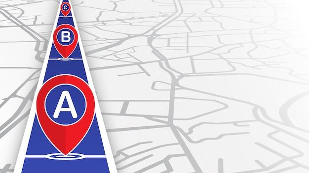 ストリートマップと青い線にドロップするピン