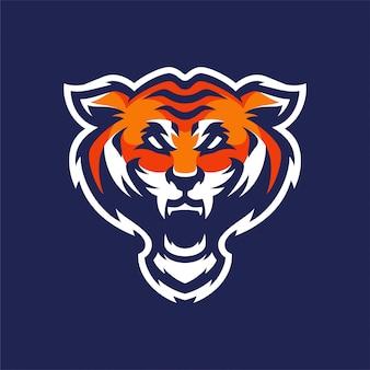 タイガーマスコットヘッドスポーツロゴ