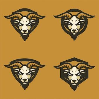 ヤギマスコットヘッドスポーツロゴ
