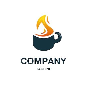 火のコーヒーのロゴのベクトル