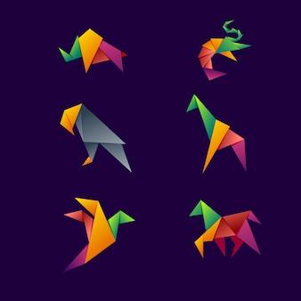 動物の折り紙のロゴ
