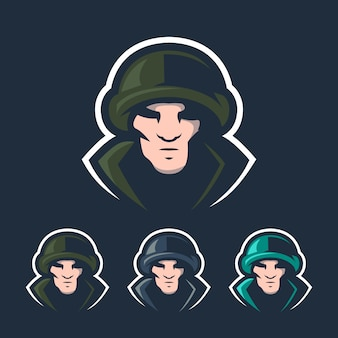 Солдат киберспортивный талисман логотип