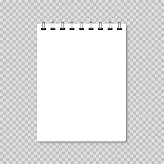 Белый пустой реалистичный блокнот