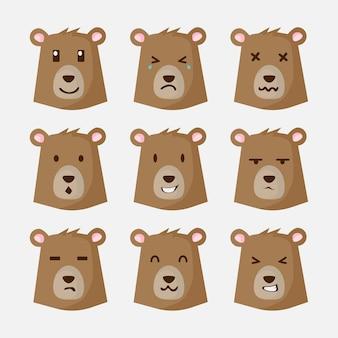 茶色の熊顔文字
