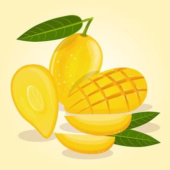 熟したマンゴーは様々な形で黄色い