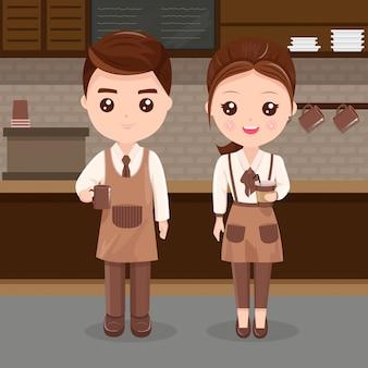 Персонал обслуживает мужчин и женщин в кафе