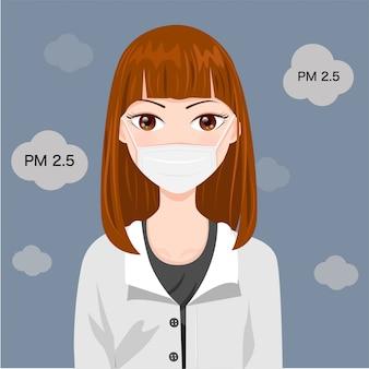 煙やほこりを防ぐためにマスクを着ている女性