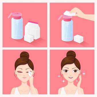 クレンジングウォーターで顔をきれいにする方法