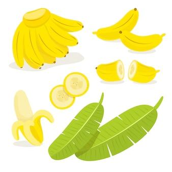黄色のバナナと緑の葉