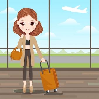 旅行の準備ができて素敵な女の子