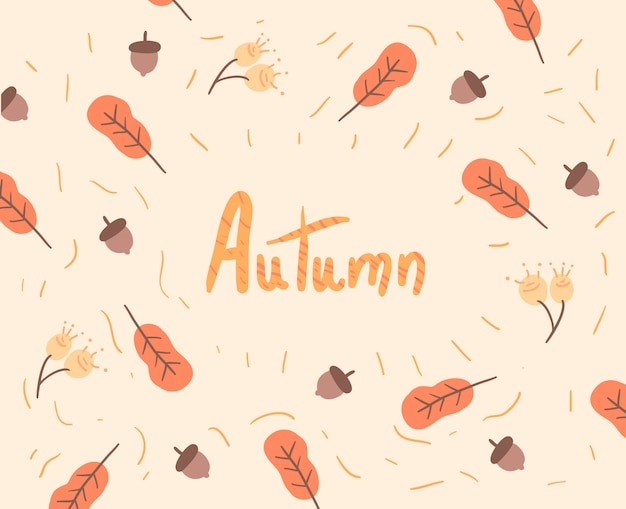 秋の紅葉とのシームレスなパターン。秋のイラスト