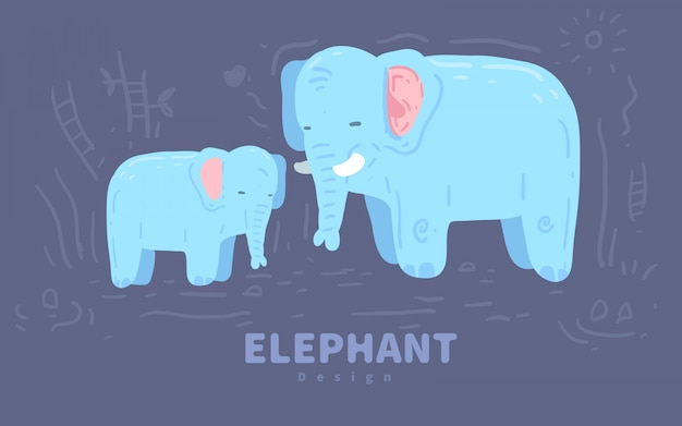 かわいい象の手描きイラスト。象の図