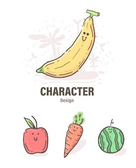 漫画スタイルのフルーツの落書き。果物イラスト