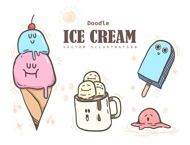 Мультяшный стиль мороженого. мороженое