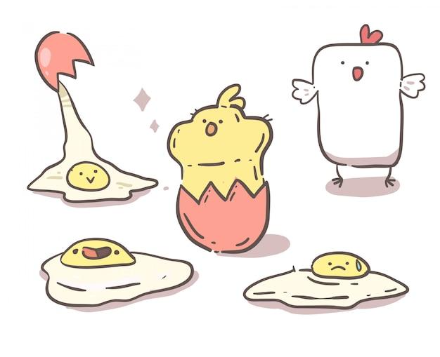 鶏、ひよこ、卵。手描きの線