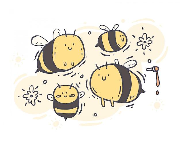 Мультфильм стиль пчелы каракули. пчела векторная иллюстрация