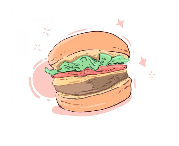 Свежий вкусный гамбургер на белом фоне
