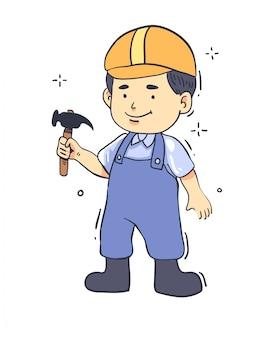 漫画スタイルの労働者