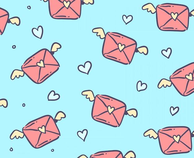 手紙愛のシームレスパターン