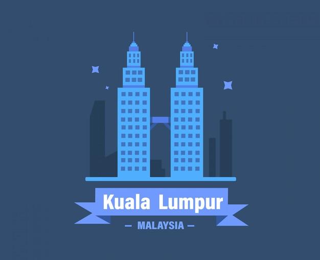 Куала-лумпур векторные иллюстрации. малайзия