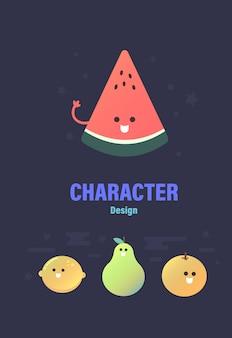 キャラクターデザインフルーツのキャラクターフルーツのベクトル図