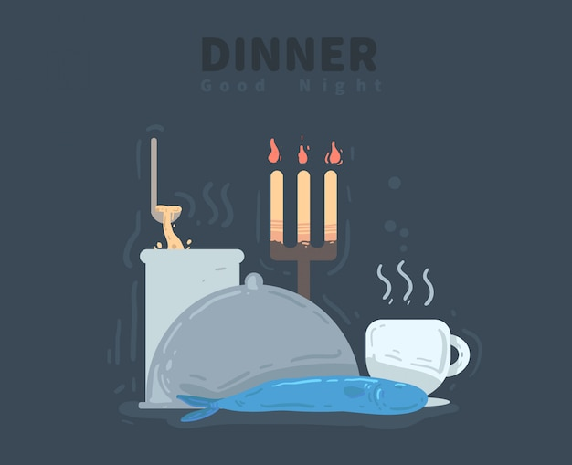 夕食の時間。おやすみカード。夕食のベクトル図