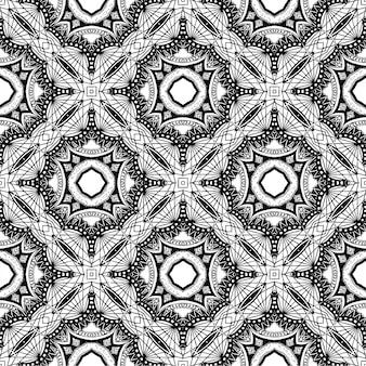 黒と白のバティックシームレスパターン、バティックインドネシア語は布全体に適用されるワックスレジスト染色の技術