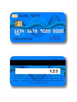 青いクレジットカードのテンプレート